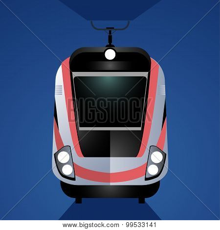 Modern high-speed train isolated on blue background. Front view.