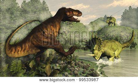 Tyrannosaurus rex fighting against styracosaurus dinosaur - 3D render