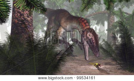 Utahraptor dinosaur hunting a gecko - 3D render