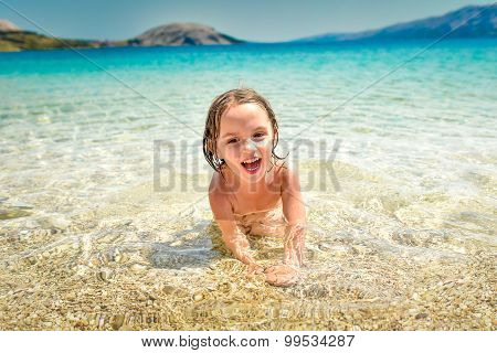 Girl Is Having Fun In The Tropical Sea