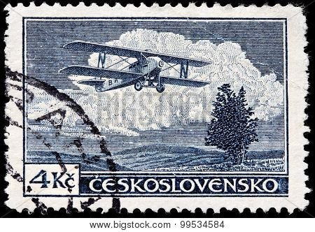 Old Airplane Stamp