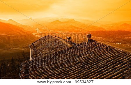 Roof Of The Old House On The Hill