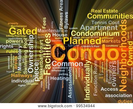 Background concept wordcloud illustration of condo glowing light