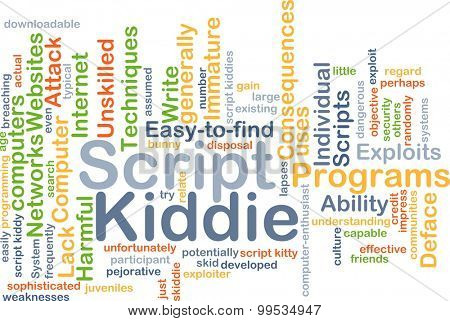 Background concept wordcloud illustration of script kiddie