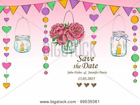 Wedding Invitation With Decoration Of Hanging Jars And Flowers.