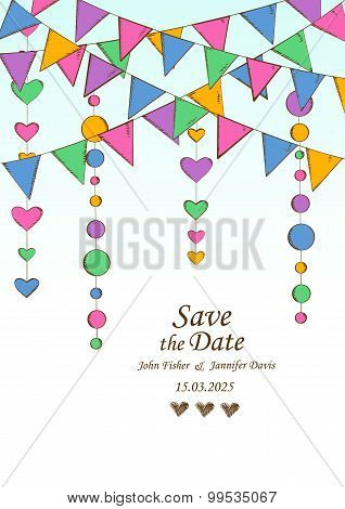 Wedding Invitation With Decoration Of Hanging Garlands.