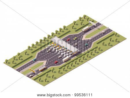 Vector isometric road toll barriers