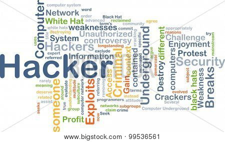 Background concept wordcloud illustration of hacker
