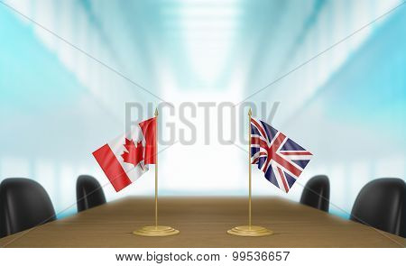 Canada and United Kingdom relations and trade deal talks 3D rendering