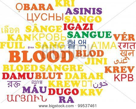 Background concept wordcloud multilanguage international many language illustration of blood