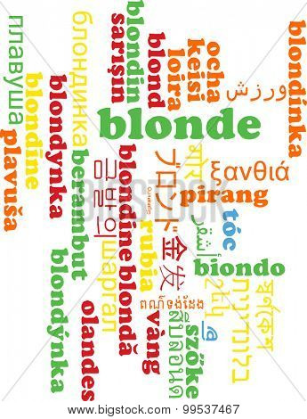 Background concept wordcloud multilanguage international many language illustration of blonde