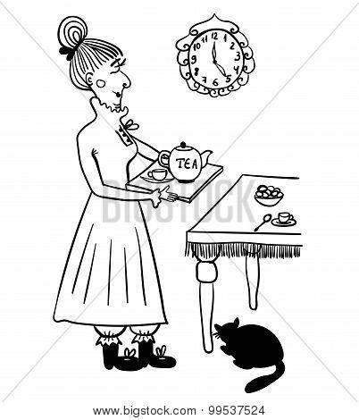Evening tea drinking elderly lady comic illustration