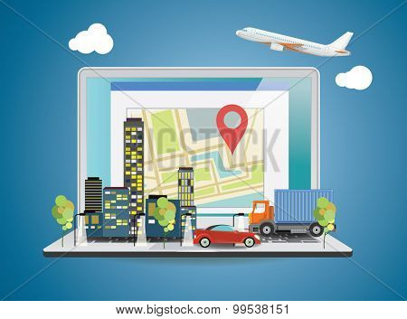 Laptop with World map on screen. Travel concept. Vector illustration.