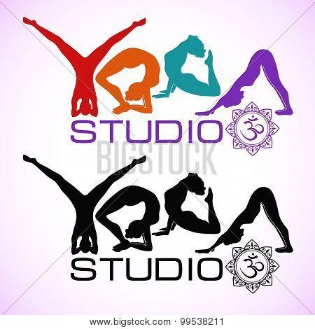 Creative Logo Of Yoga Studio With Womens Silhouettes.