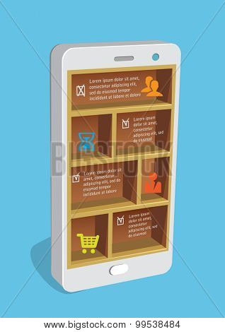 Design concept smart pone with shelves and business icons.