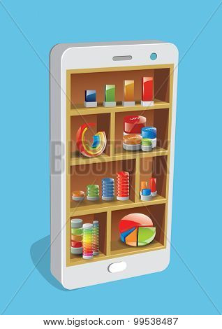 Design concept smart pone with shelves and business graph and charts.