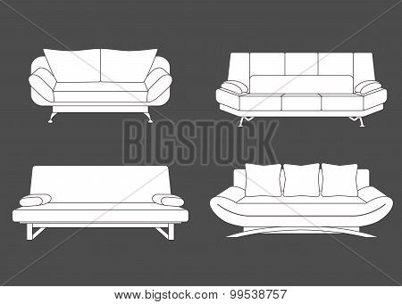 Set Of Couches And Sofas.