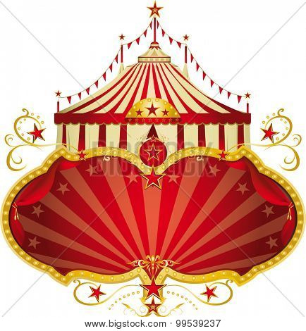 Magic circus red frame. A circus frame with a big top and a large copy space for your message.