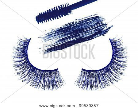 Blue False Eyelash And Stroke (sample) Of Blue Mascara Isolated On White Background
