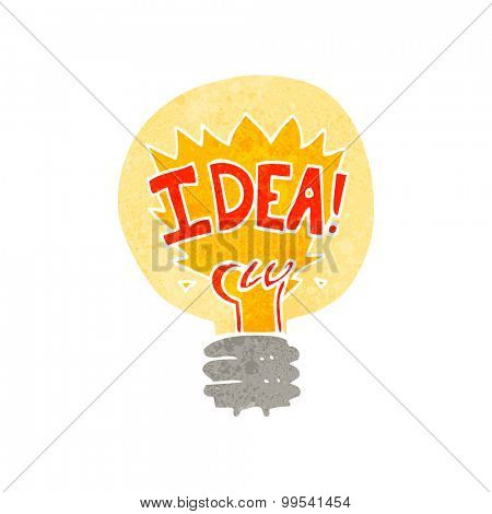 retro cartoon idea light bulb symbol