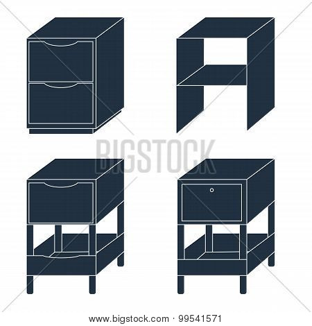 Office Furniture. Document Storage With Drawers. Vector Illustration.