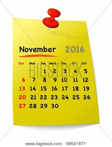 Calendar For November 2016 On Yellow Sticky Note
