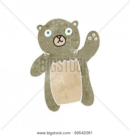 retro cartoon waving bear