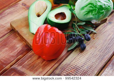 raw vegetables with oil prepared for salad