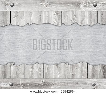 Composition of metal aluminum plaque, name plate and wooden wall planks