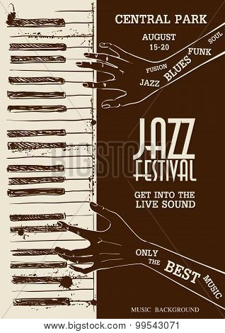 Poster With Human Hands Playing The Piano.