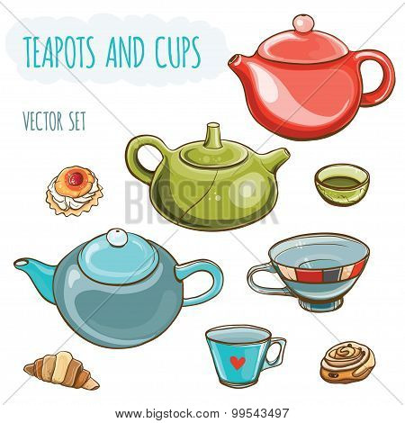 Vector Illustration Set Of Teapots, Cups And Buns.