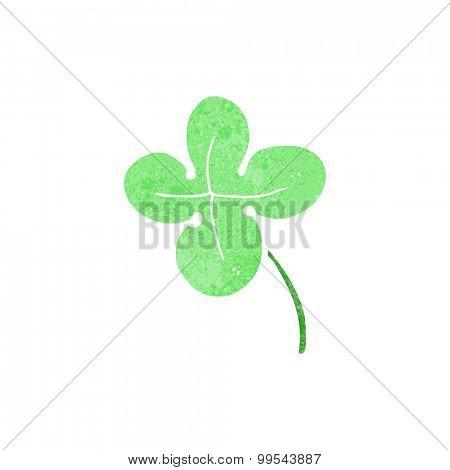 retro cartoon four leaf clover