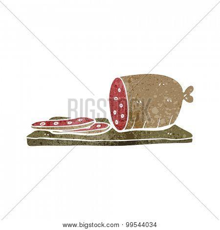 retro cartoon sliced sausage