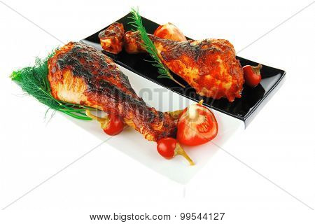 grilled poultry drumstick with fennel and tomatoes