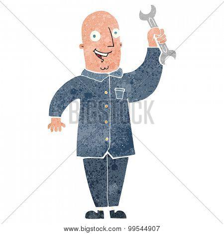 retro cartoon mechanic