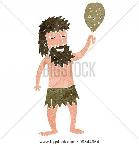retro cartoon cave man with meat