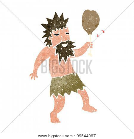 retro cartoon cave man eating chicken leg