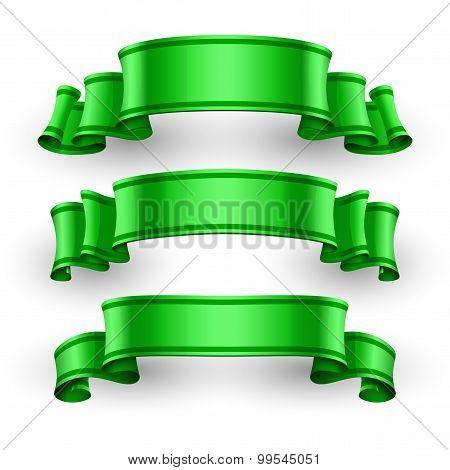 Green Glossy Vector Ribbons Set