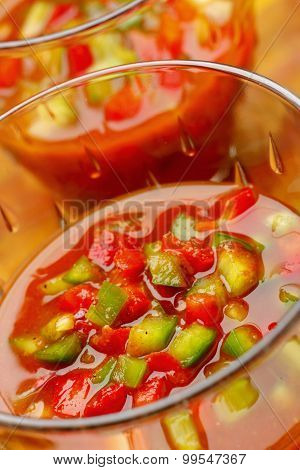 Gazpacho With Chopped Red And Green Peppers