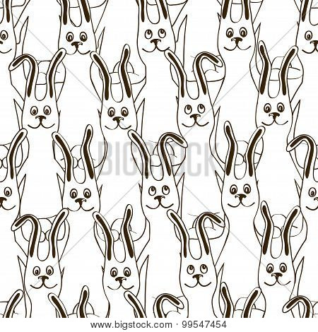Seamless Pattern Of Funny Bunnies.