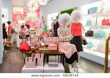 HONG KONG - JUNE 01, 2015: boutique interior. In Hong Kong a wide selection of clothing boutiques, designer flagship stores, restaurants, daily shows and exhibitions