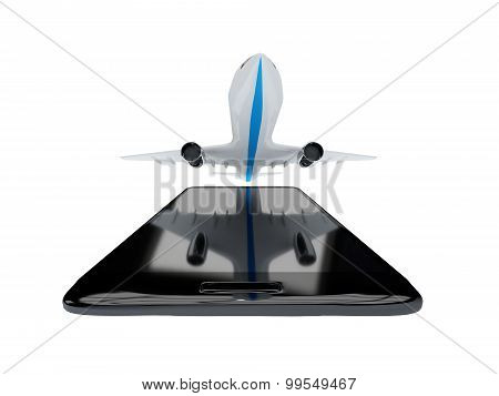 Flights App On Mobile Phone Isolate On White