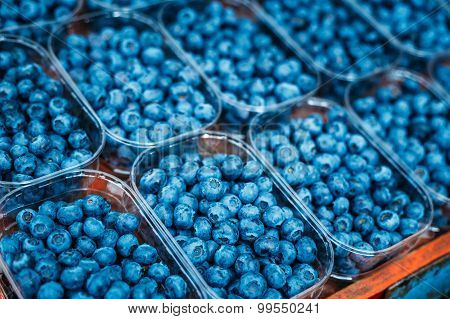 Fresh Organic Berries Blueberries At Produce Local Market In Bas