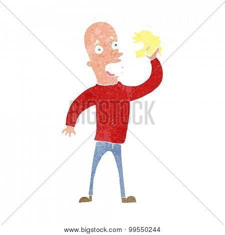 retro cartoon bald man with wig