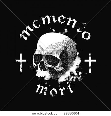Vector white skull in grunge design style