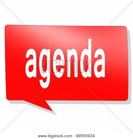 Agenda Word On Red Speech Bubble