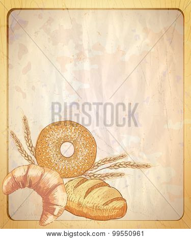 Old paper backdrop with empty place for text and graphic illustration of assorted pastry.