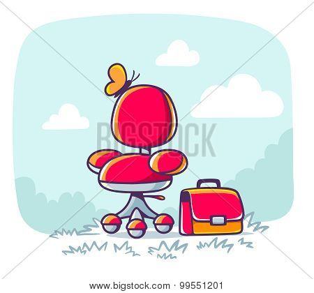 Vector Illustration Of Red Office Armchair With Briefcase On Nature Background.