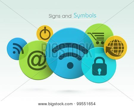 Set of colorful web signs and symbols on shiny background.