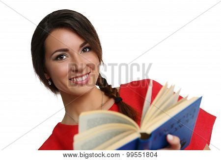 Female Young Student Holding Textbook